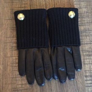 COACH leather and knit gloves